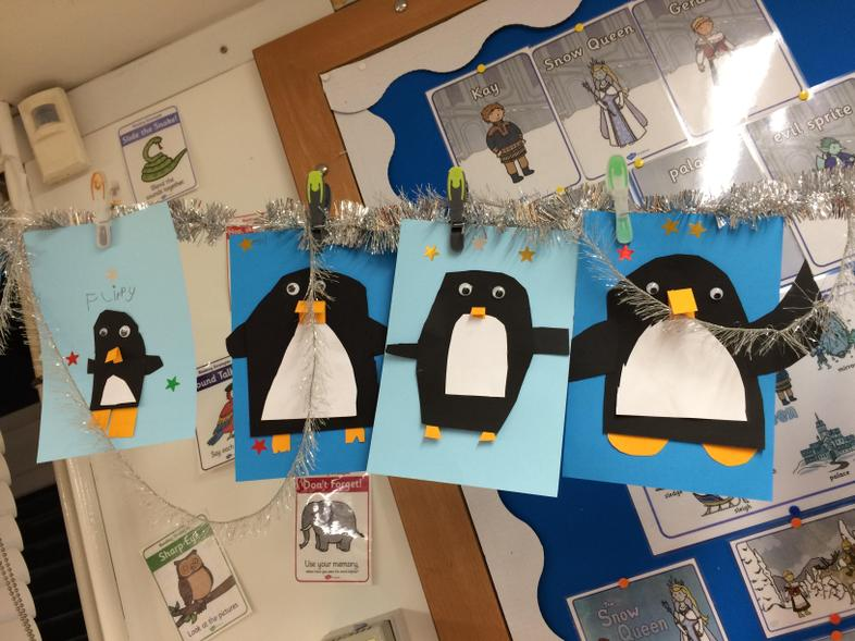 Collage penguins from Antarctica