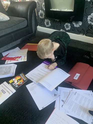Riley working hard at home- well done!