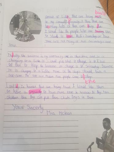 A super letter to a local MP- well done Mia