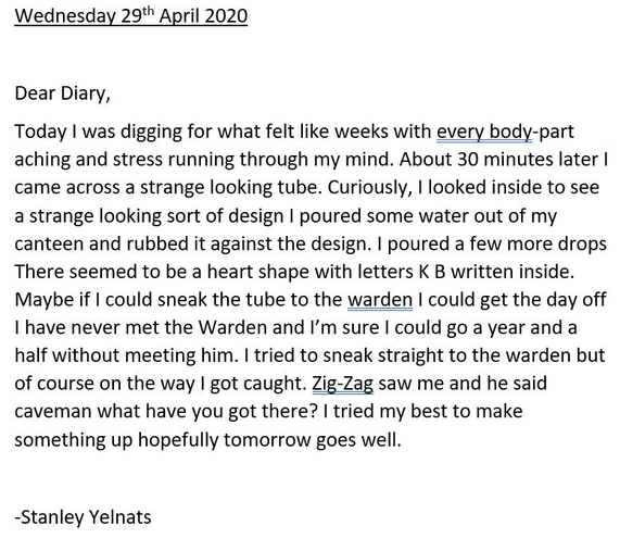 Harry's diary entry- well done!