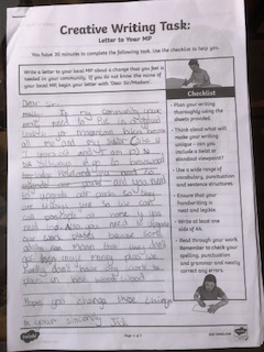Jack's letter to a local MP- well done!