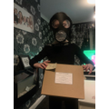 Morgan's gas mask and holder