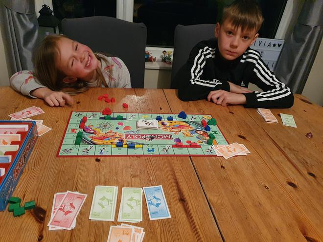 Enjoying a game of Monopoly!