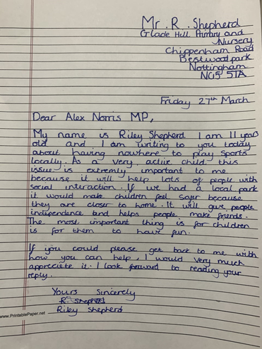 Well done Riley- a fab letter to a local MP!