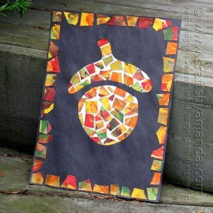 Acorn mosaic - a great way to strengthen hands by ripping paper to create a masterpiece
