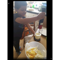 Making the cake mixture