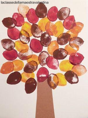 Autumn tree finger painting - use autumn coloured paint and your fingers!