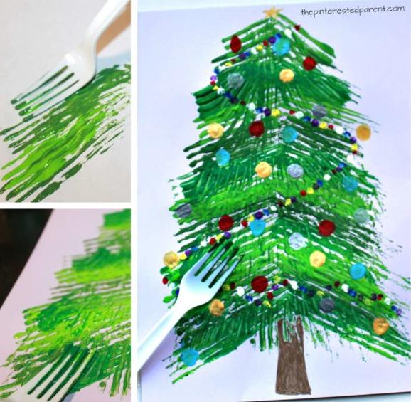 Fork Christmas tree art