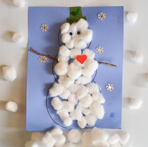 Cotton wool Snowman card
