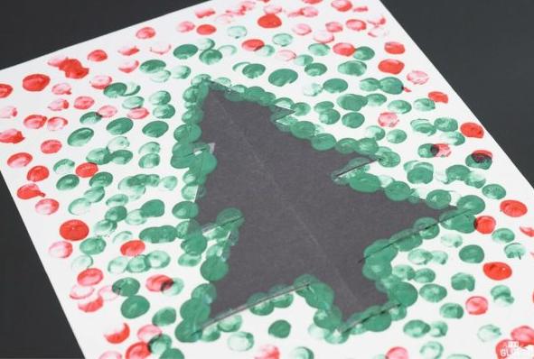 Christmas tree thumb print art