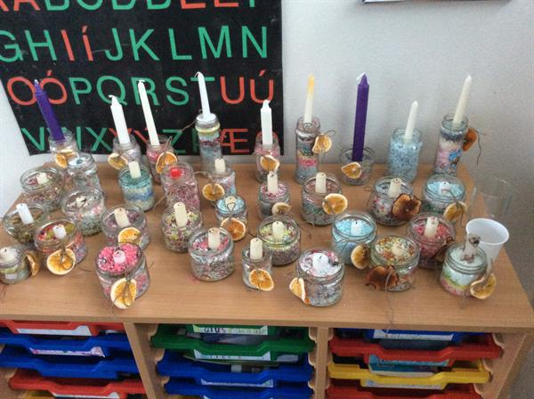 Recycling broken crayons to make candles
