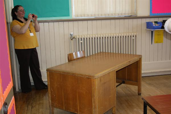 Mrs Nicholson has a look around the set