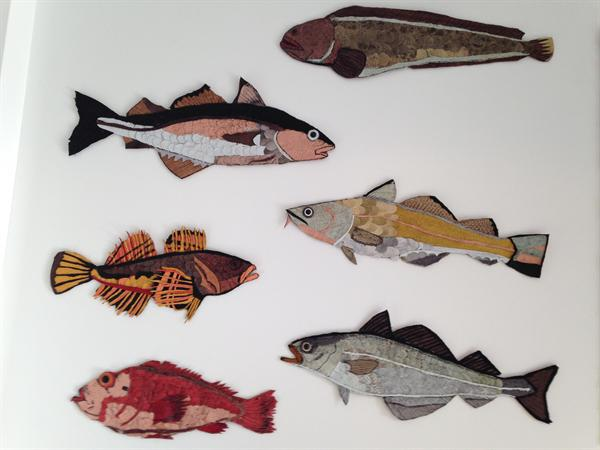 Fish made from fish leather cut offs.