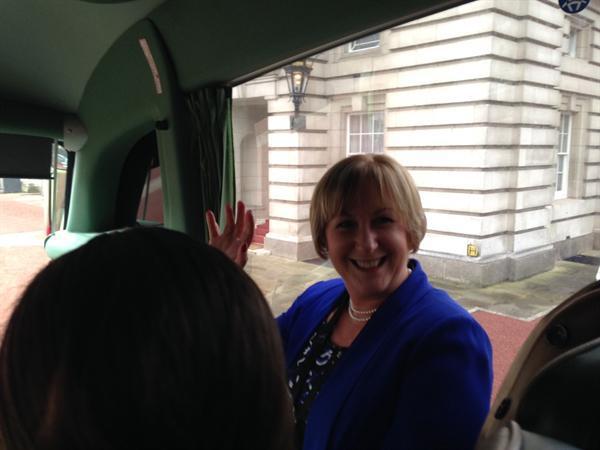 Mrs Brereton waving regally