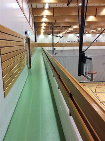 School indoor running track above the gymnasium.