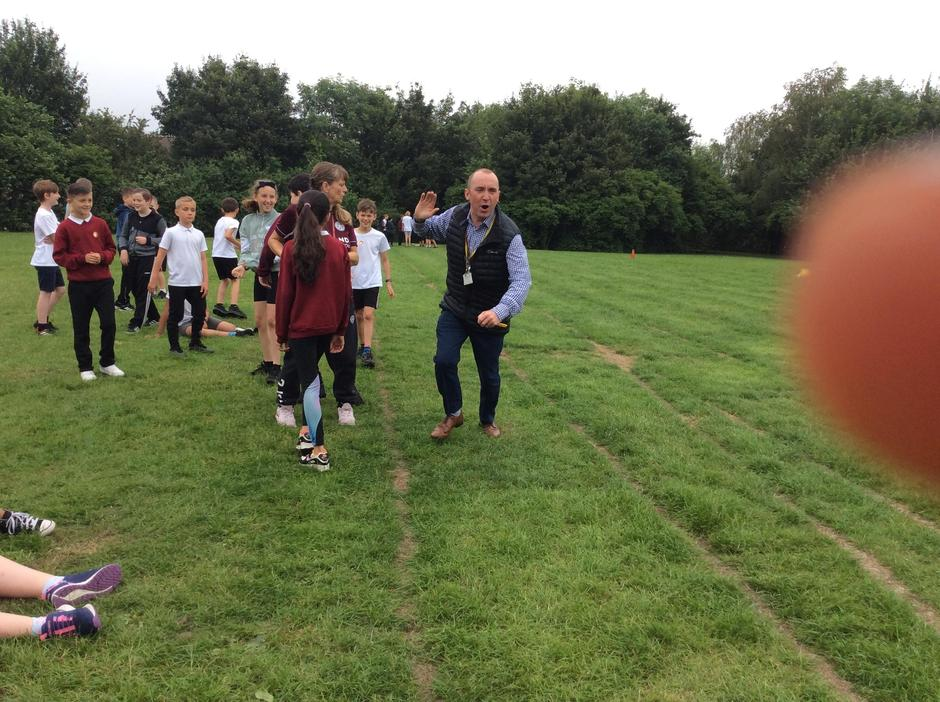Mr. Lee wins the egg and spoon race