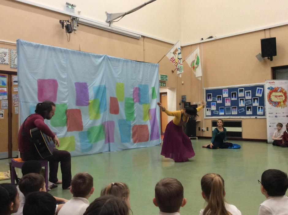 Spark Arts performers entertain the children
