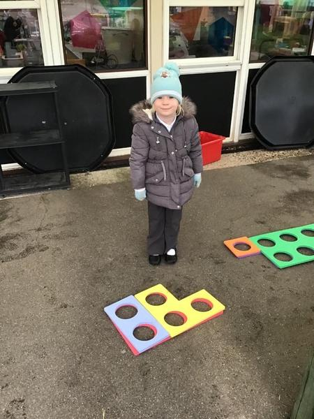 We added 2 numbers together using Numicon.
