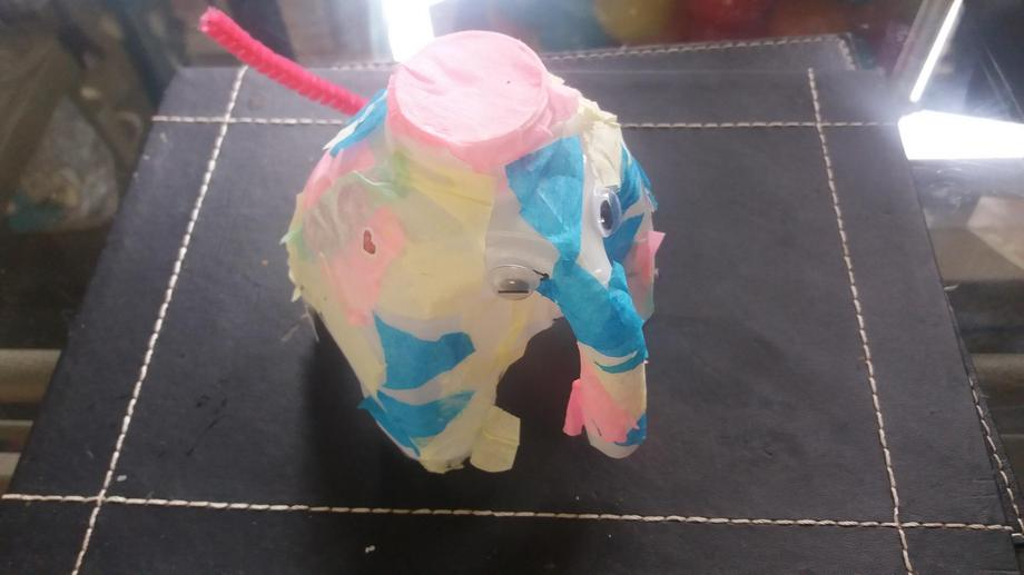 A colourful elephant made using a milk bottle