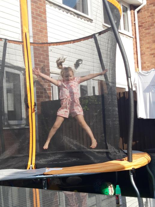 Jumping on my trampoline!
