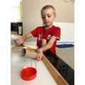Ashton made a bird feeder
