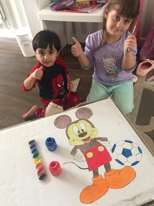 Great painting with her brother