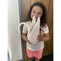 Amelia created this wonderful origami swan