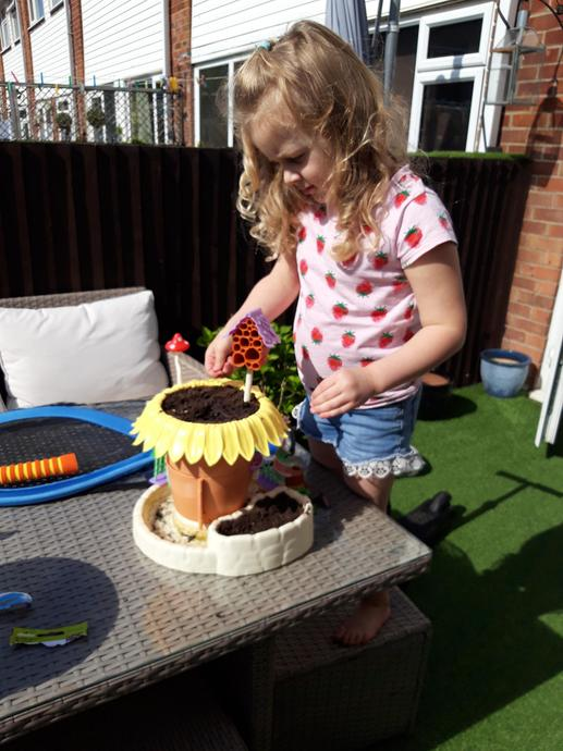 Planting seeds and making a fairy garden