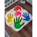 Finley & his family made salt dough hand prints.