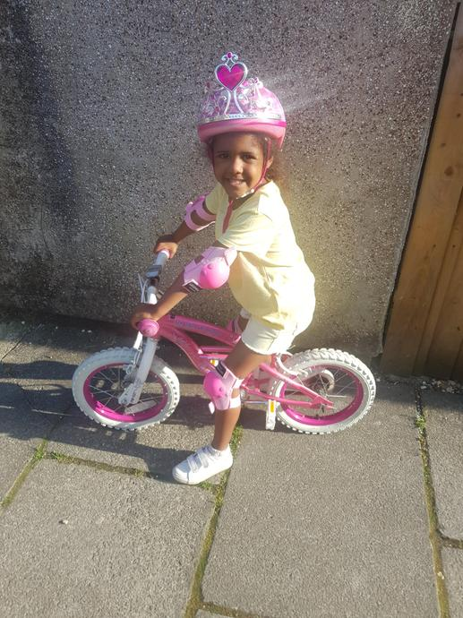 Winter can now ride her bike without stabilisers!