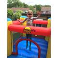 Josie is keeping fit on her bouncy castle