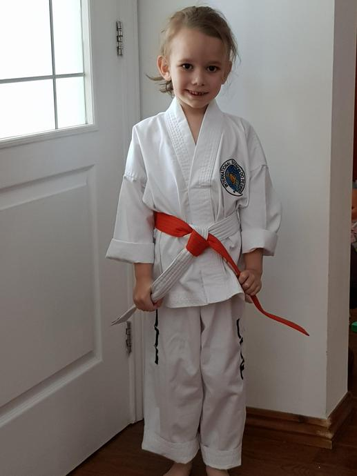 Ready for her virtual karate lesson