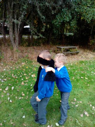 Josh leading Kieran to his tree-which one?