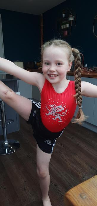 Lexie has been practising her gymnastic training!