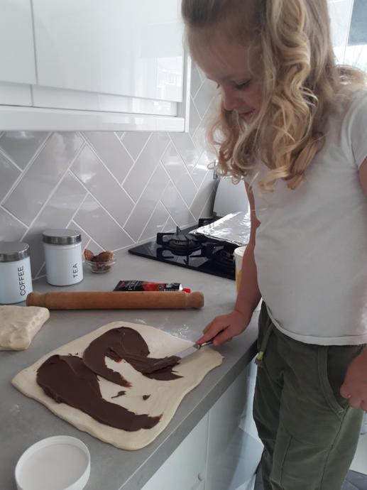 Baking nutella wheels!