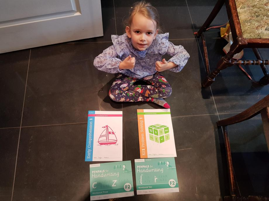 Soffia has worked hard to finish all her workbooks