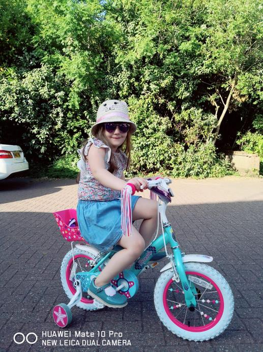 Riding on her bike