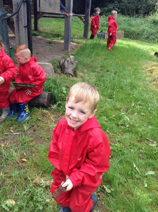 Taking risks at Forest School.