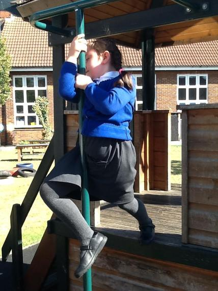 Using the climbing frame