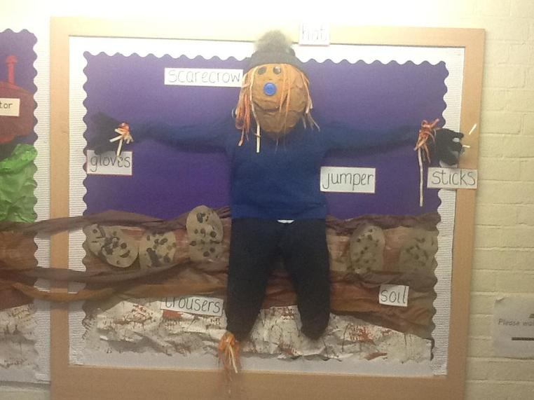We learnt a song about a scarecrow for harvest