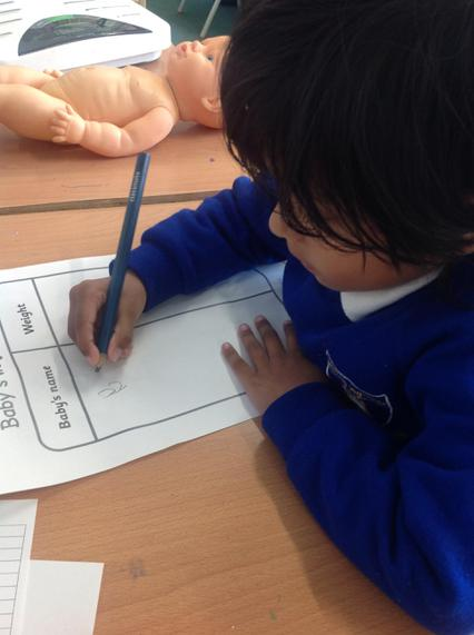 Themed writing tables encourage children to write