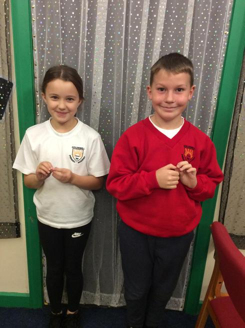 Lottie and Jacob representing Year 4.