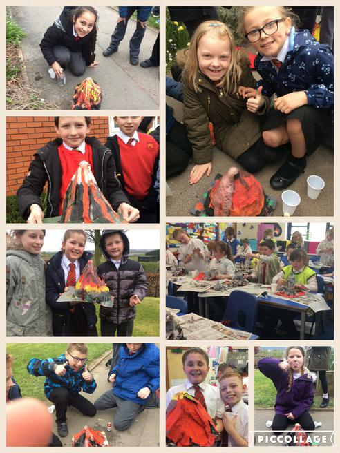 We created and made our own volcanoes!