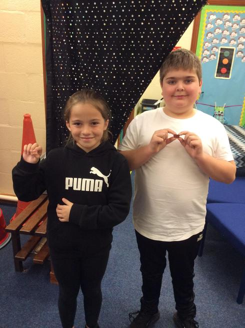 Olivia and Oliver representing Year 5.
