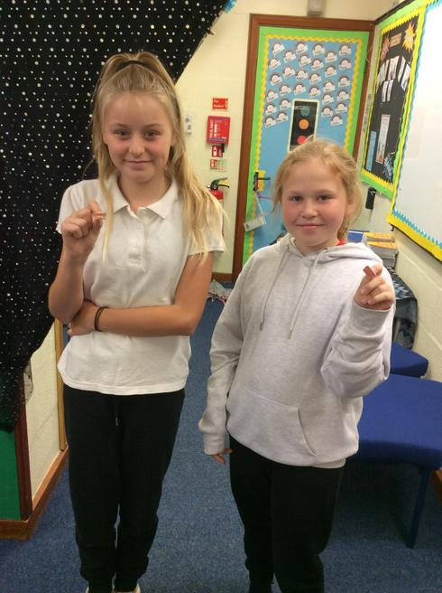 Ruby and Maisie representing Year 6.