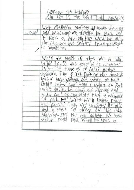 Oliver's diary about Roald Dahl Museum Pg1 ...