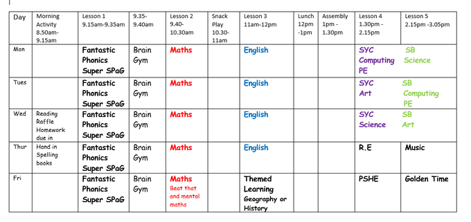 Example Y2 Weekly Timetable
