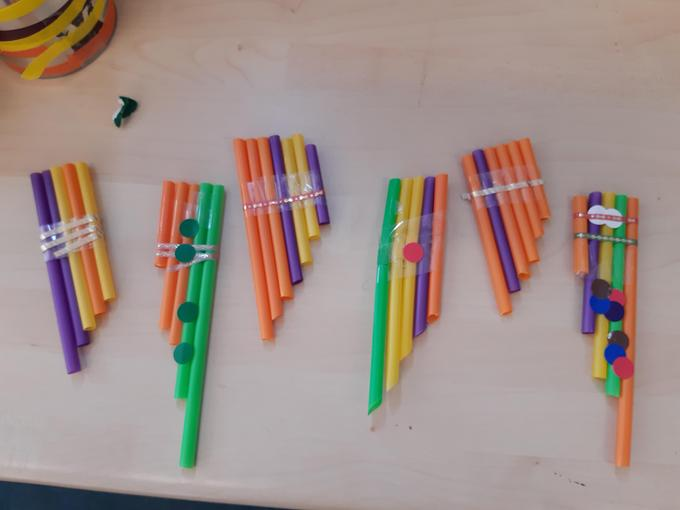 We used straws to make our own pan pipes