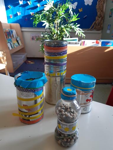 We have re-used cans, bottles, lids and paper to make shakers and drums