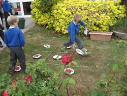 A game of noughts and crosses at number 5 (but one day there may be a pond to explore).
